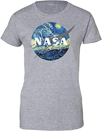 BakoIsland NASA Logo Van Gogh Camiseta de Mujer: Amazon.es: Ropa y accesorios