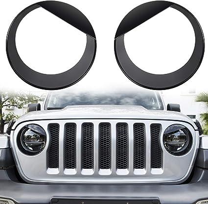 Hooke Road Clip-in Headlight Covers Front Light Bezels for 2018 2019 Jeep Wrangler JL Sport//Sport S