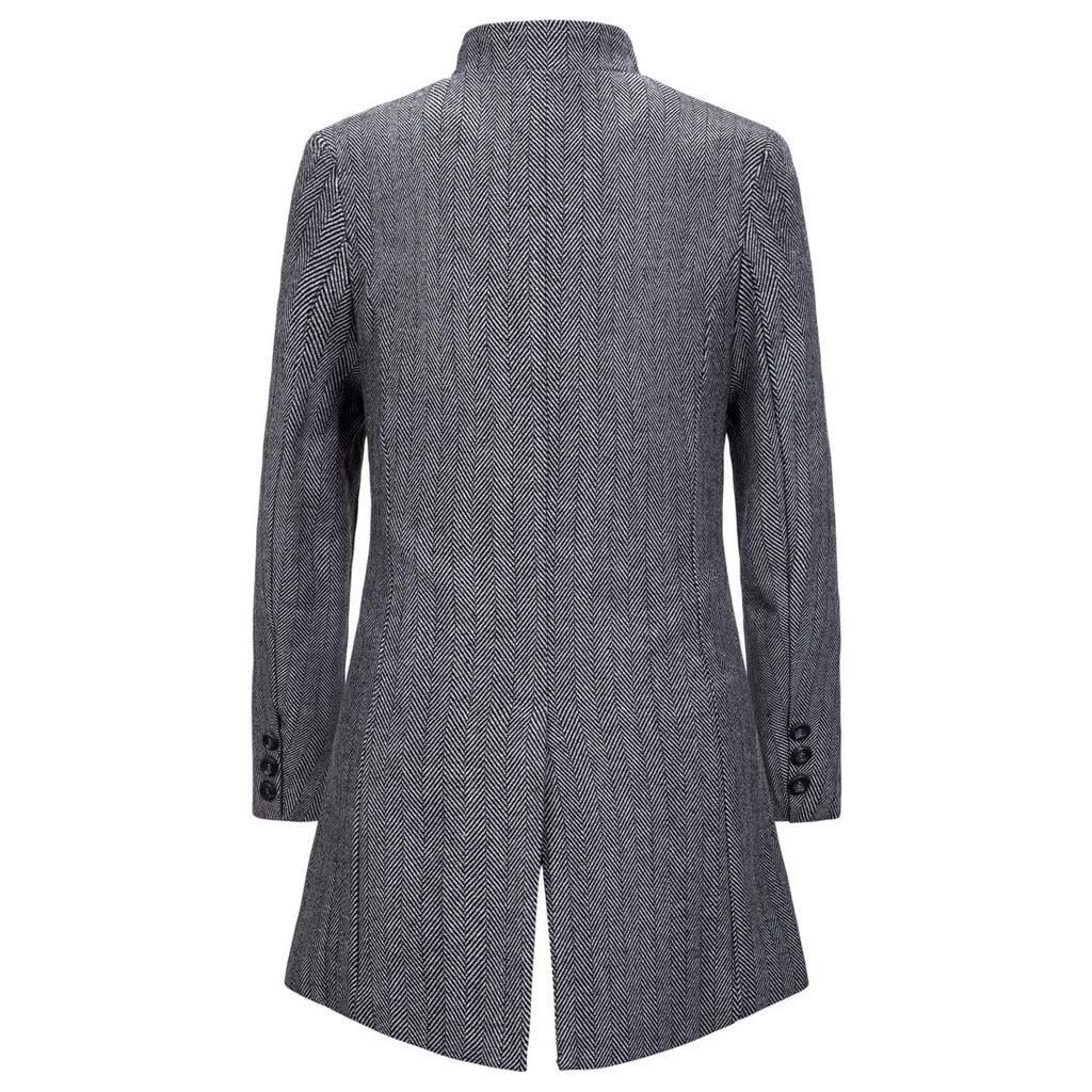 KUKICAT Trench Long Homme Coats à Col Slim Fit,Vintage À Rayures Patchwork Outwear Parka Manteau Hiver Gris