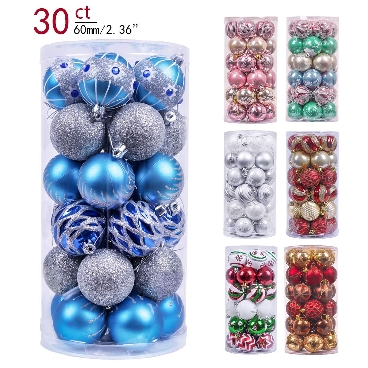 Valery Madelyn 30ct 60mm Winter Wishes Blue Silver Shatterproof Christmas Ball Ornaments Decoration,Themed with Tree Skirt(Not Included) EG0101-0033