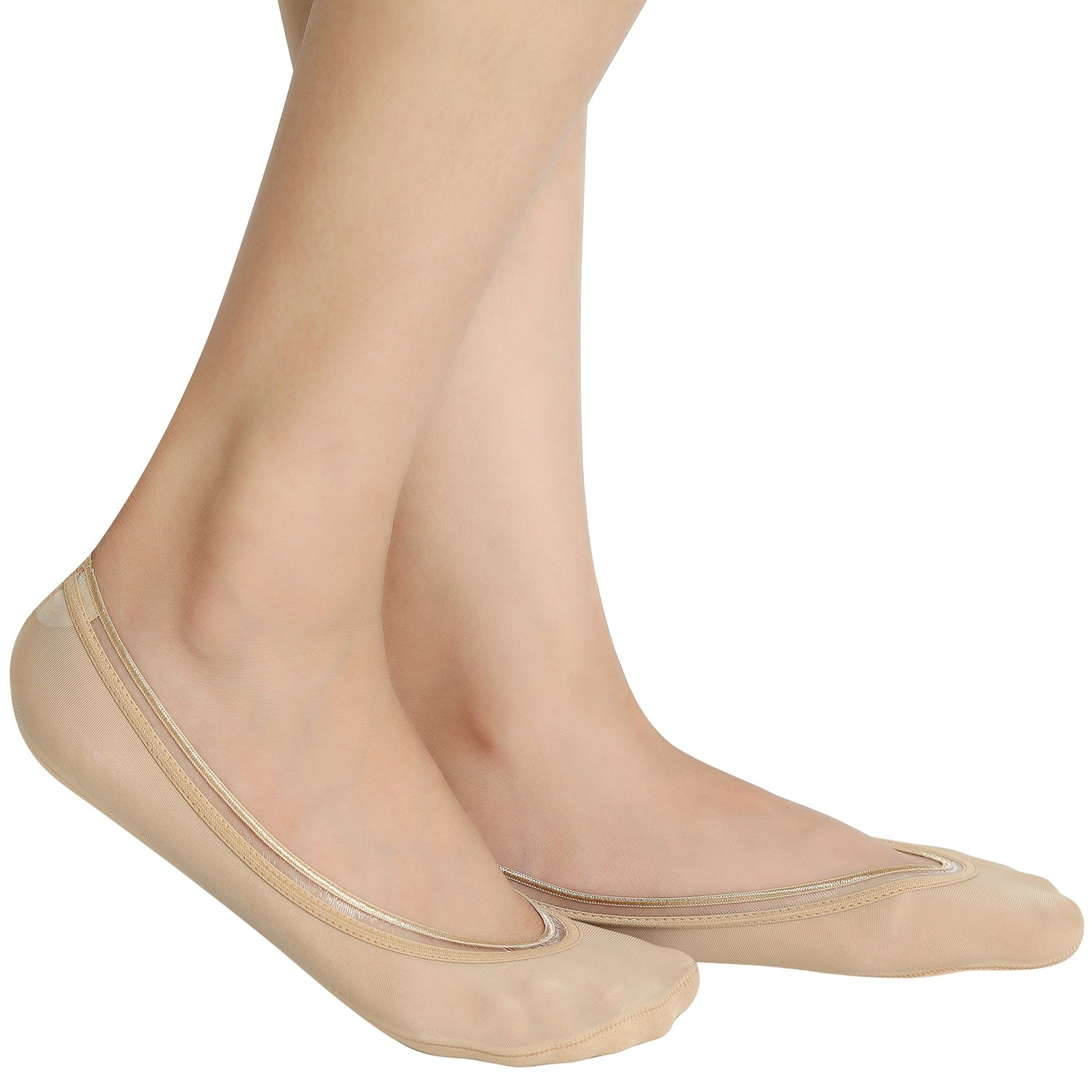 Fitrell Women's No Show Socks Non Slip Thin Casual Flat Invisible Liner Socks (6 Pack),Nude+Black,One Size