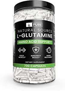 100% Pure L-Glutamine, 730 Capsules, 1-Year Supply, No Magnesium or Rice Fillers, Non-GMO, Gluten-Free, Made in USA, Naturally-Sourced and Potent L-Glutamine Amino Acid with No Additives