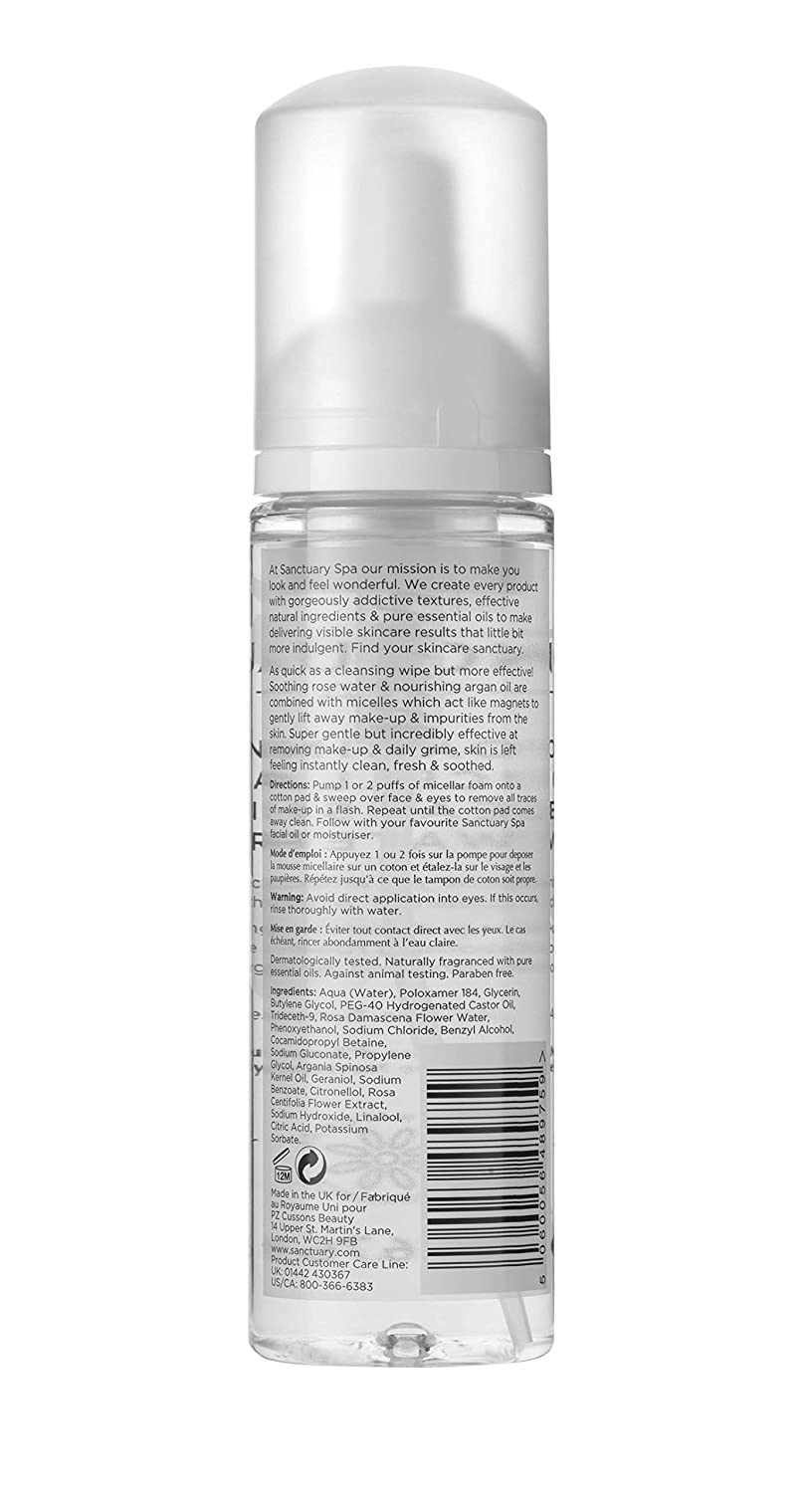 Sanctuary Spa Foaming Micellar Cleansing Water 200 Ml Cussons Baby Liquid Cleanser 300 100ml Beauty