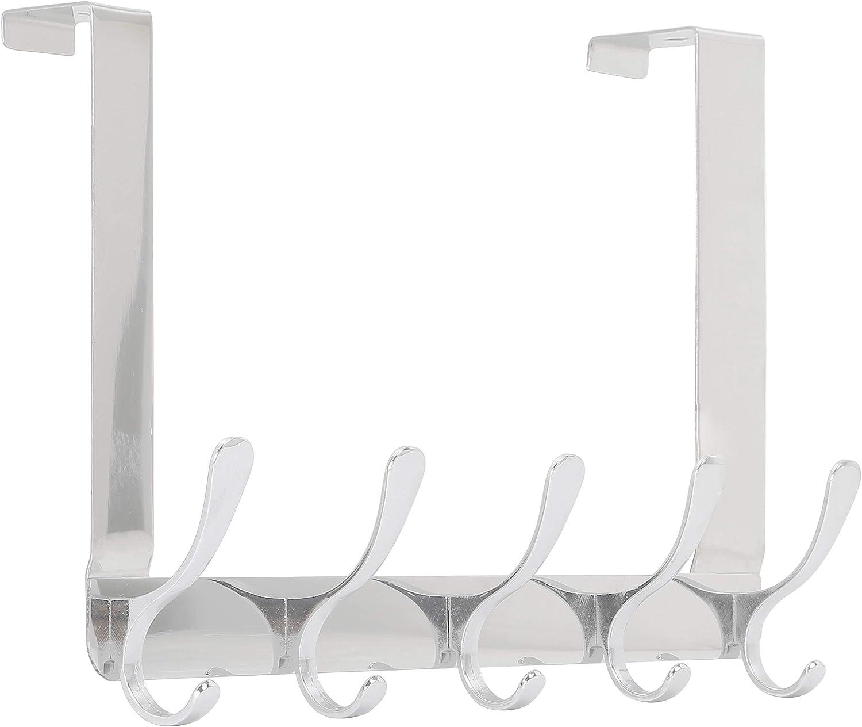 Over Door Coat Rack Over Door Hook Hanger for Hanging Clothes//Towels//Coats//Backpack//Hat 5 Hooks SKOLOO Over The Door Hook 2 Pack, Silver