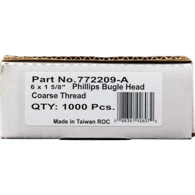 6 by 1-5//8-Inch Phillips Coarse Thread Drywall Screw 1,000 per Box Makita 772209-A No