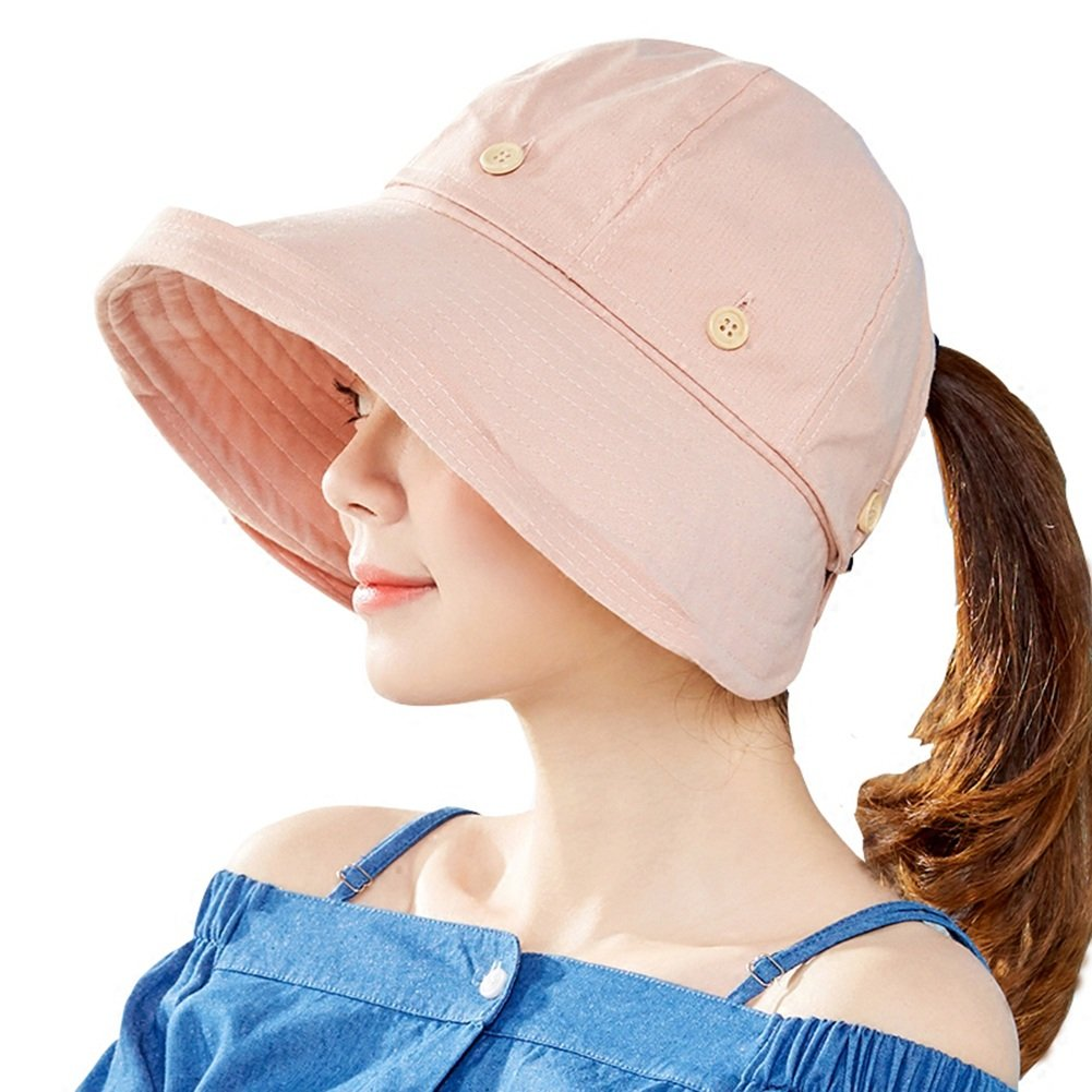 Light pink Cool Hat Summer Hat, Sun Hat Women Removable Hat Top Foldable Wind Rope Wide Brim Beach, 6 colors Optional