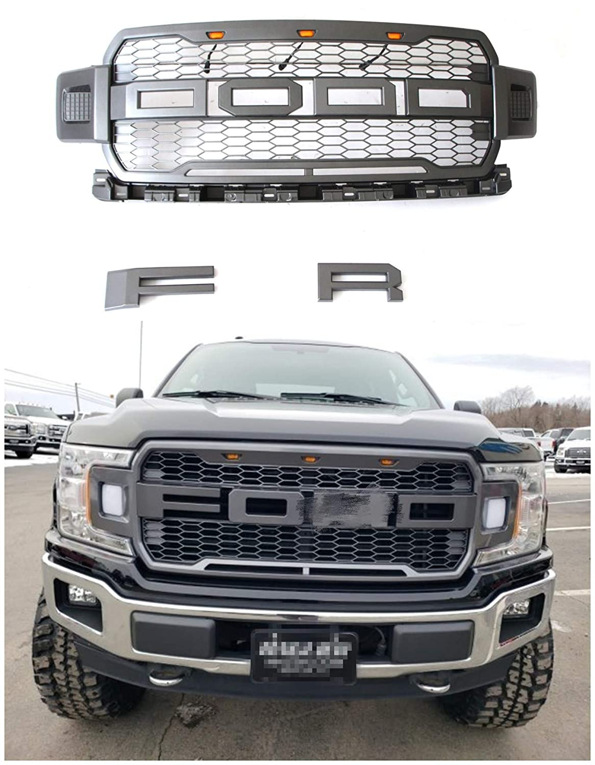 Raptor Style Grille Fits For 2018-2019 Ford F150 Gray Raptor Style on
