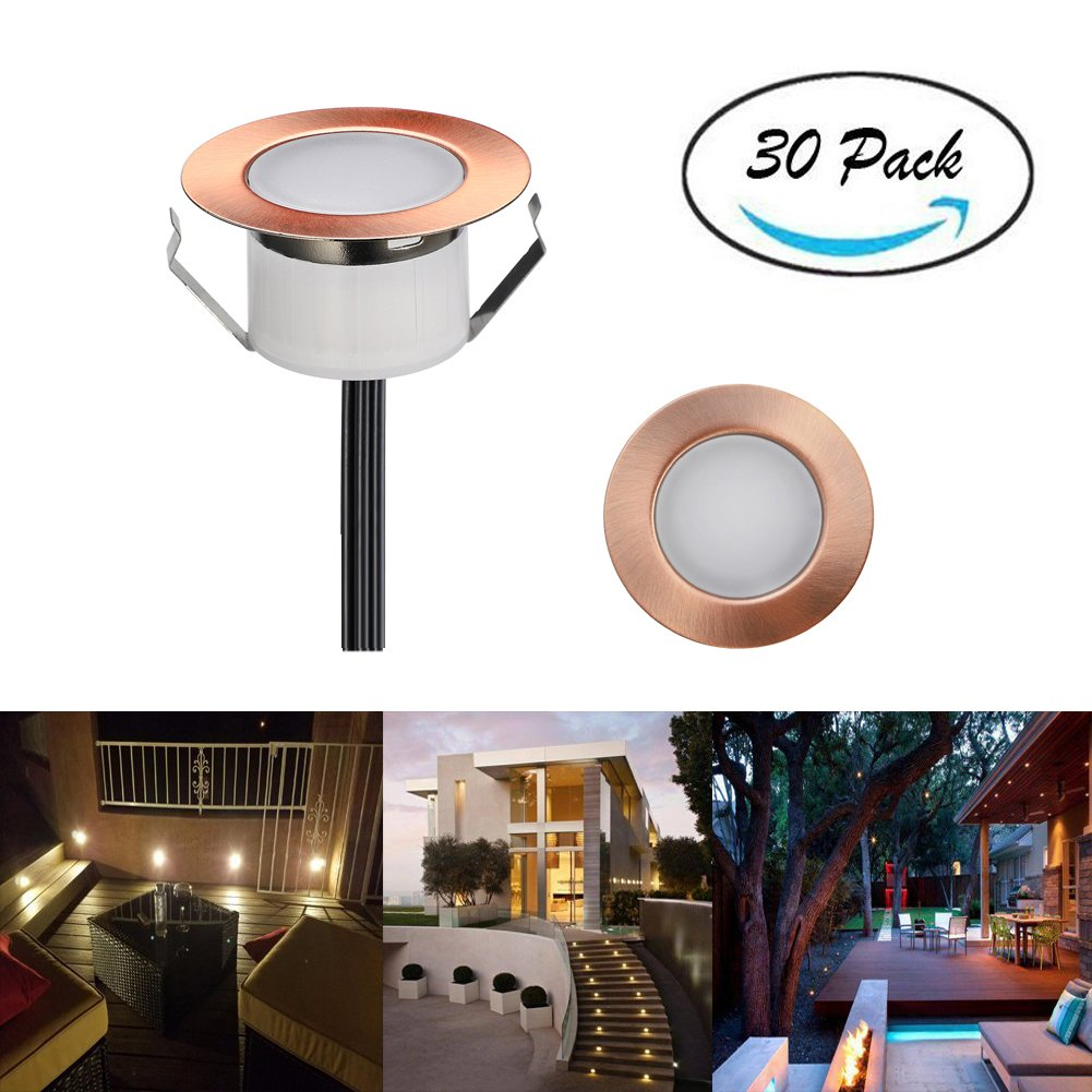 FVTLED Pack of 30 Low Voltage LED Deck Lighting Kit Stainless Steel Waterproof Outdoor Landscape Garden Yard Patio Step Decoration Lamp LED In-ground Light, Bronze (30pcs, Warm White)