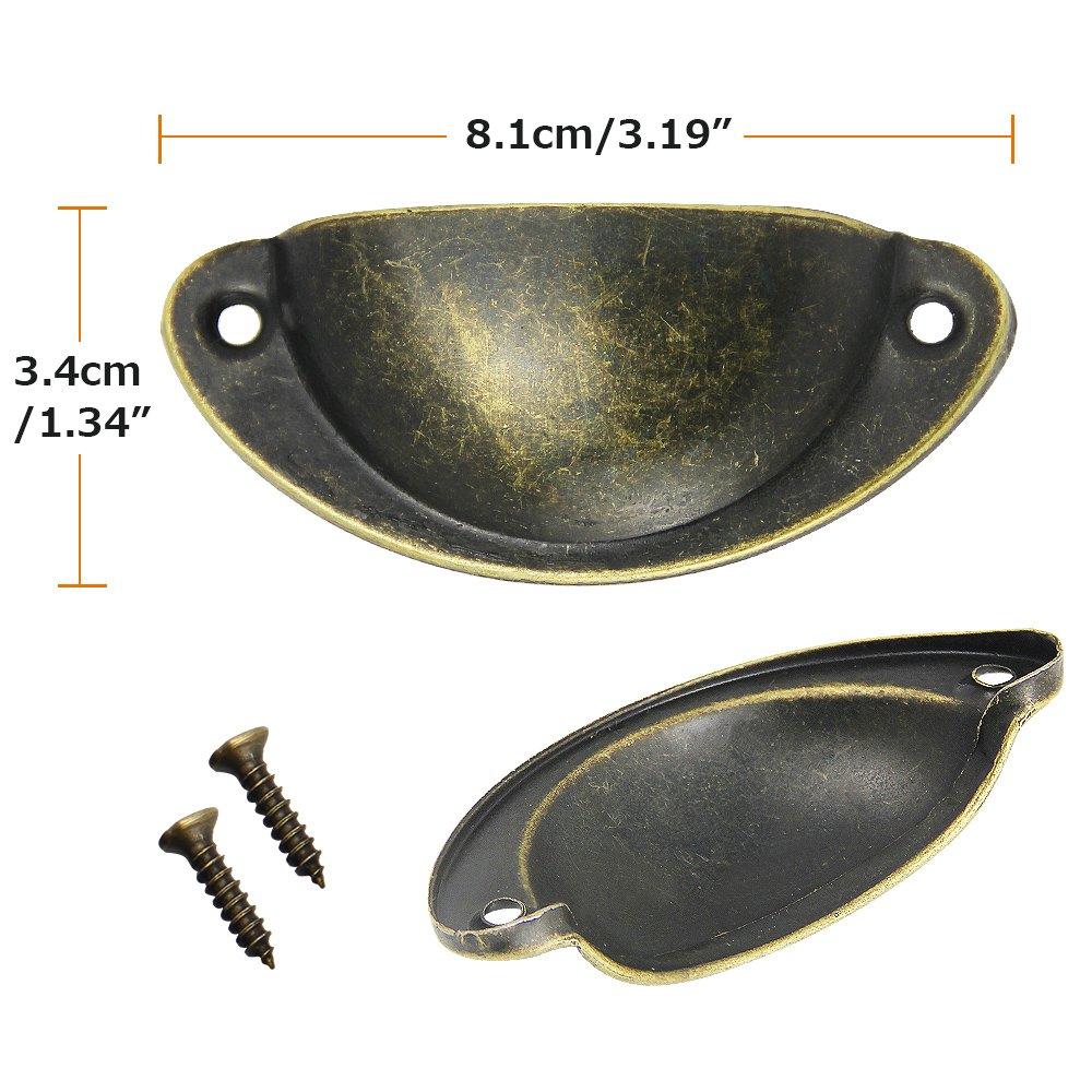con 20 Colore: Bronzo Anticato in Ferro JTDEAL a Forma di Semicerchio 8,2/x 3,5/x 1c7/cm 10 Maniglie Retro Grave; per Cassetti e Mobili