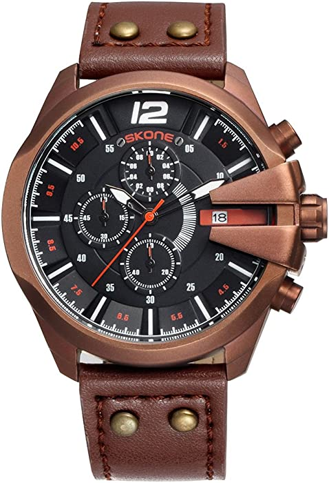 SKONE Mens Watches Waterproof Analog Quartz Watch with Genuine Leather Chronograph Watches and Sport Big Face