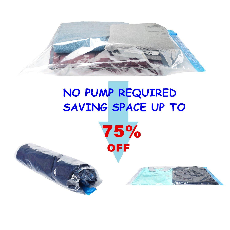 iNeibo Sac Rangement Vetement Sous Vide 10 Pochette Transparente à double glissière bleu Space saver bag