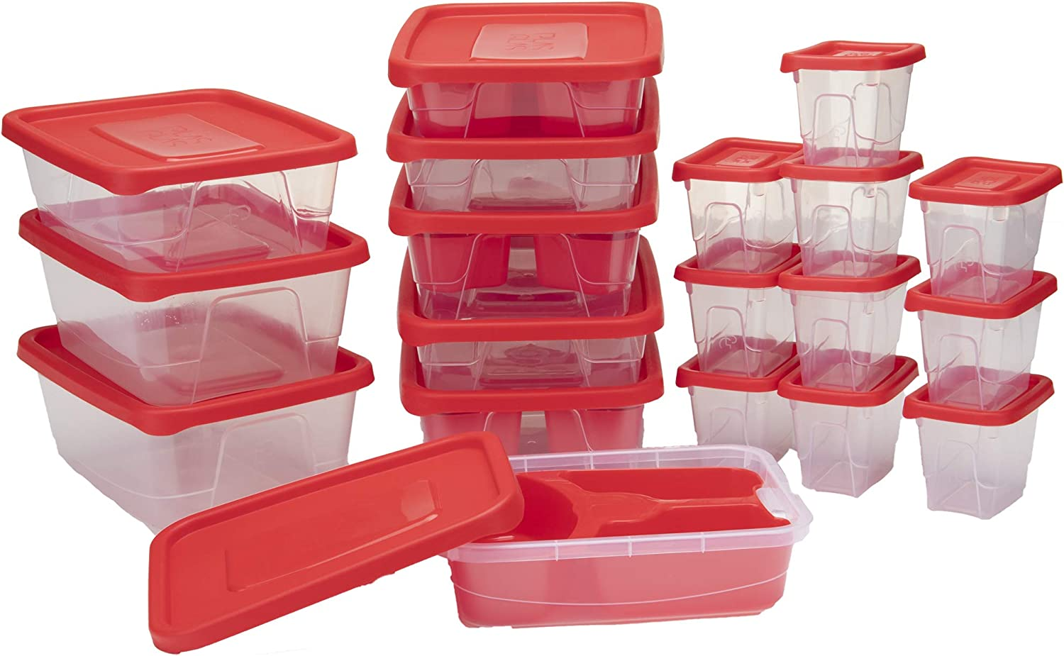 Mind Reader Meal Prep Food Storage Plastic Containers with Lids, Removable Compartment Sectionals, 42 pcs, 89.5 Cups, Red