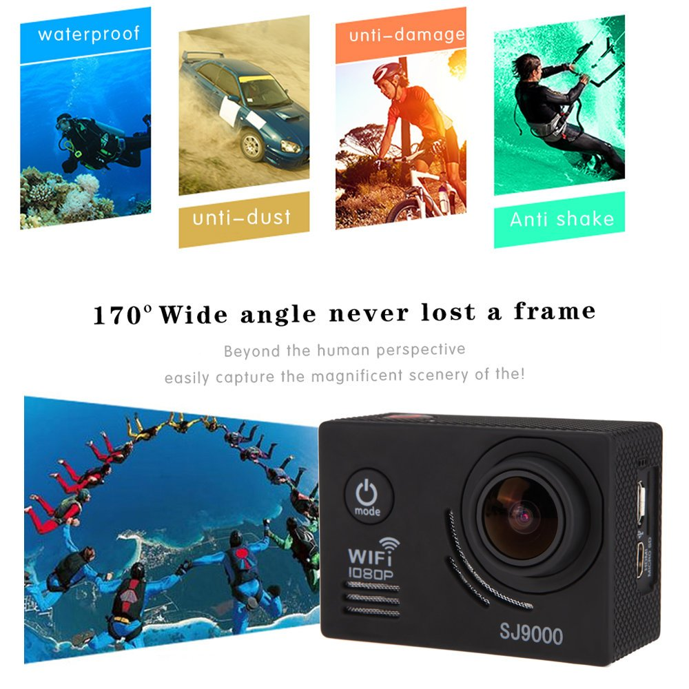 GBB SJ9000 14MP impermeable deportivo acción cámara Kit ith accesorios (17 artículos) Negro: Amazon.es: Deportes y aire libre