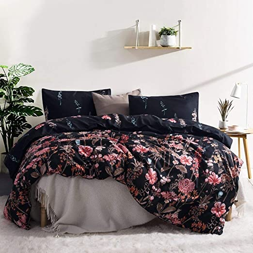NEW 3 pc Duvet Cover Set Hotel Quality Soft Floral Patterned Design KING Size