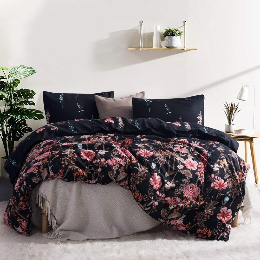 Leadtimes Flower Duvet Cover Set, Floral Black Boho Hotel Bedding Sets with Soft Lightweight Microfiber 1 Duvet Cover and 2 Pillow Shams (King, Style8)
