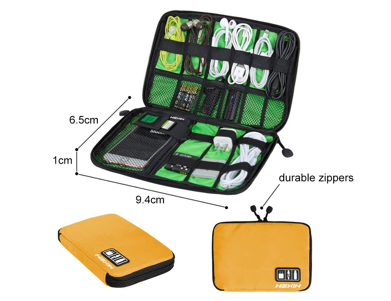 Portable Double Layer Travel Gear Cable Organizer Electonics Bags (Yellow)