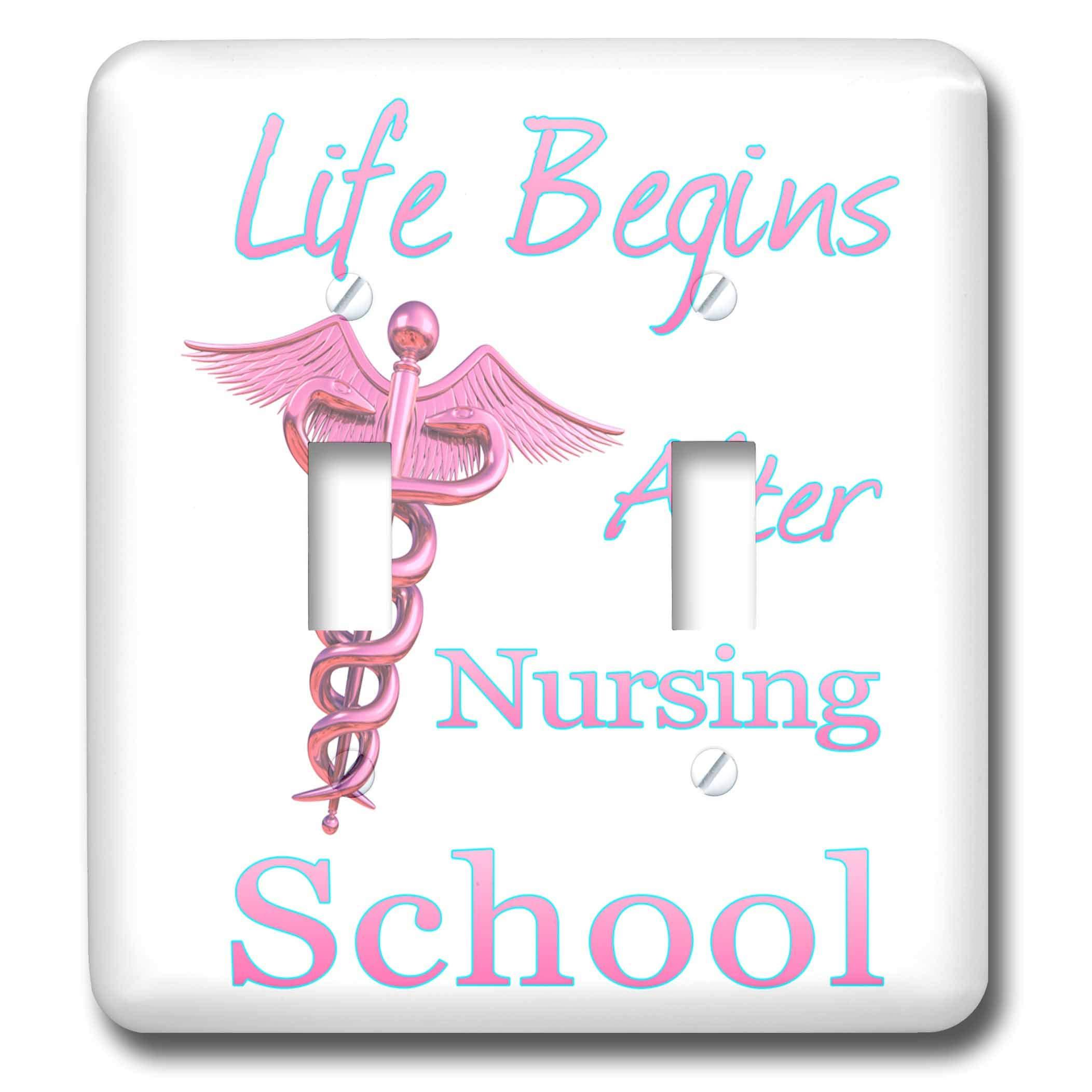 3dRose MacDonald Creative Studios – Nursing - Life Begins After Nursing School funny nursing gift for nurse graduate - Light Switch Covers - double toggle switch (lsp_295398_2)