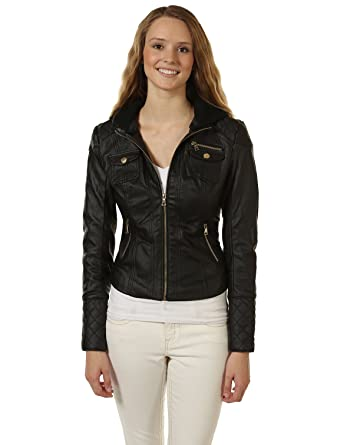 e5cf5beff0b 7Encounter Women s Knit Hooded Faux Leather Bomber Jacket at Amazon ...