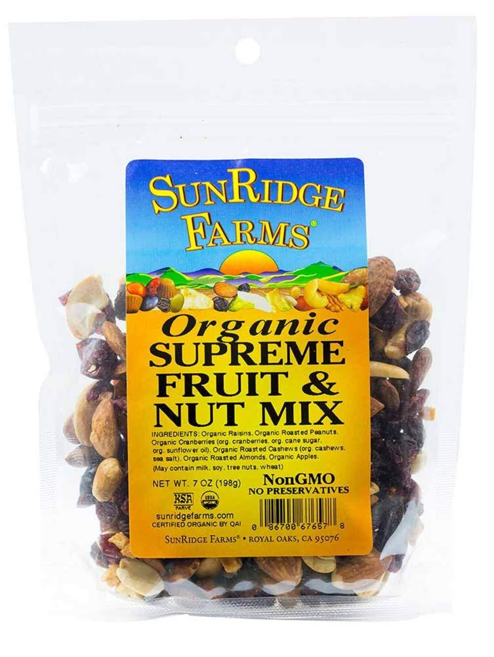 SunRidge Farms Organic Supreme Fruit & Nut Mix NonGMO Verified 7 Ounce Bag (Pack of 12)