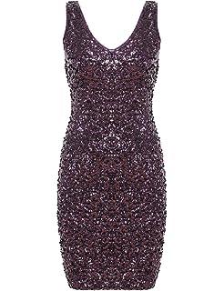42164c40c60 PrettyGuide Women s Sexy Deep V Neck Sequin Glitter Bodycon Stretchy Mini  Party Dress