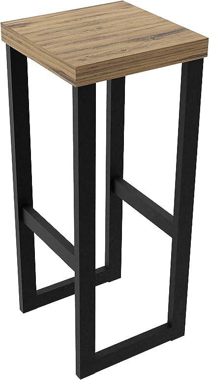 Magnetic Mobel Sgabelli Alti Bar Vintage Cucina Moderni in Ferro Industriali Design Impilabili Sgabello Alto da Bar Nero Quercia, 60 cm
