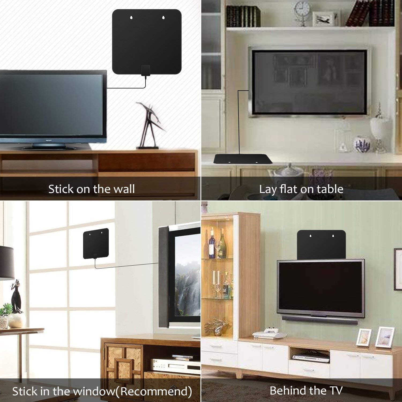 Antena de televisión digital HD para interiores de 60 a 80 millas, compatible con antena de TV de 1080p, 4 K y todos los televisores más antiguos con amplificador de señal HDTV,