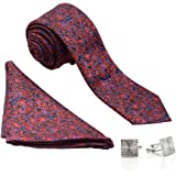 VIBHAVARI Men's Silk Tie, Pocket Square and Cuff Link Set Black