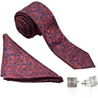 VIBHAVARI Men's Silk Tie, Pocket Square and Cuff Link Set Black