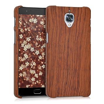 kwmobile Funda para OnePlus 3 / 3T - Carcasa Protectora de [Madera] para móvil - Case [Duro] en [marrón Oscuro]