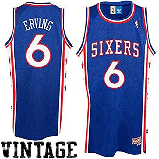 877ca9ceffe adidas Julius Erving Philadelphia 76ers Youth Hardwood Classics Retired  Player Swingman Throwback Jersey Royal Blue