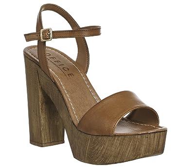b5bc4bbb00e Office Hawaii Wood Platform Sandal Tan Leather - 8 UK  Amazon.co.uk ...
