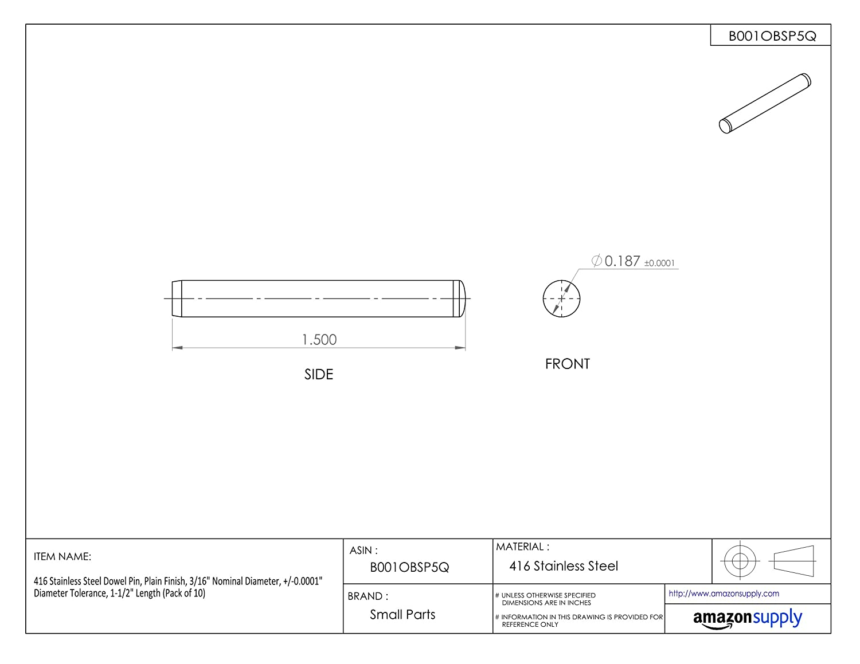 Pack of 5 Plain Finish +//-0.0001 Diameter Tolerance 5//16 Nominal Diameter 5//8 Length 416 Stainless Steel Dowel Pin