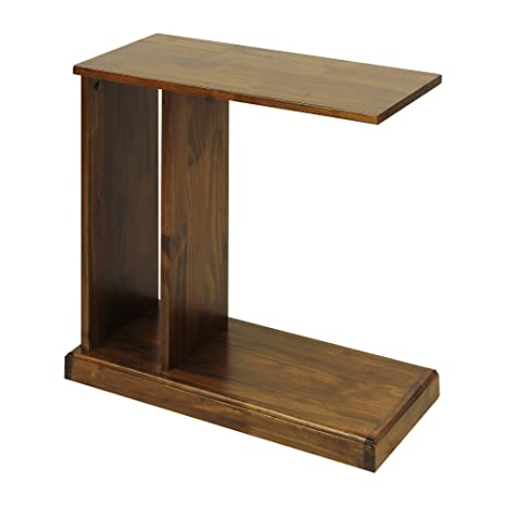 Attirant Casual Home C Shape End Table With Solid Wood