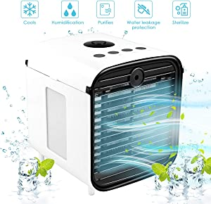 Portable Air Cooler, 5-in-1 Mini Air Conditioner with LED Light and Purifier, Personal Air Cooler for Home & Office Desk Outdoors Travel