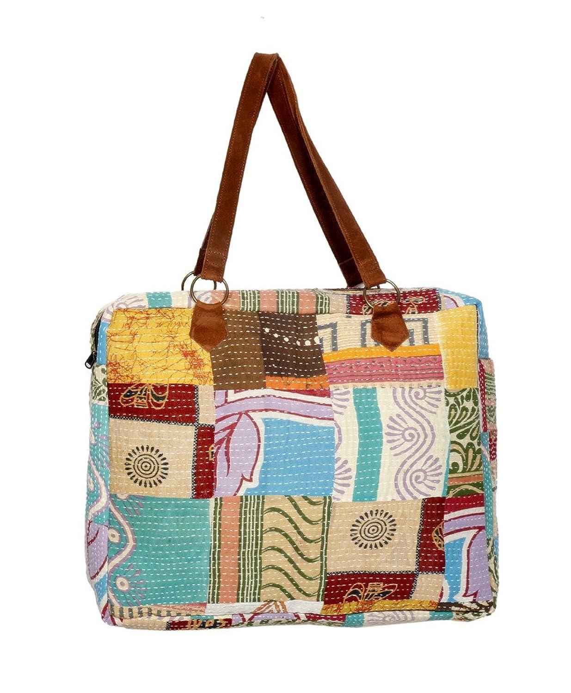 Indistar Women's Vintage Handmade Cotton Kantha Work Hand Bag