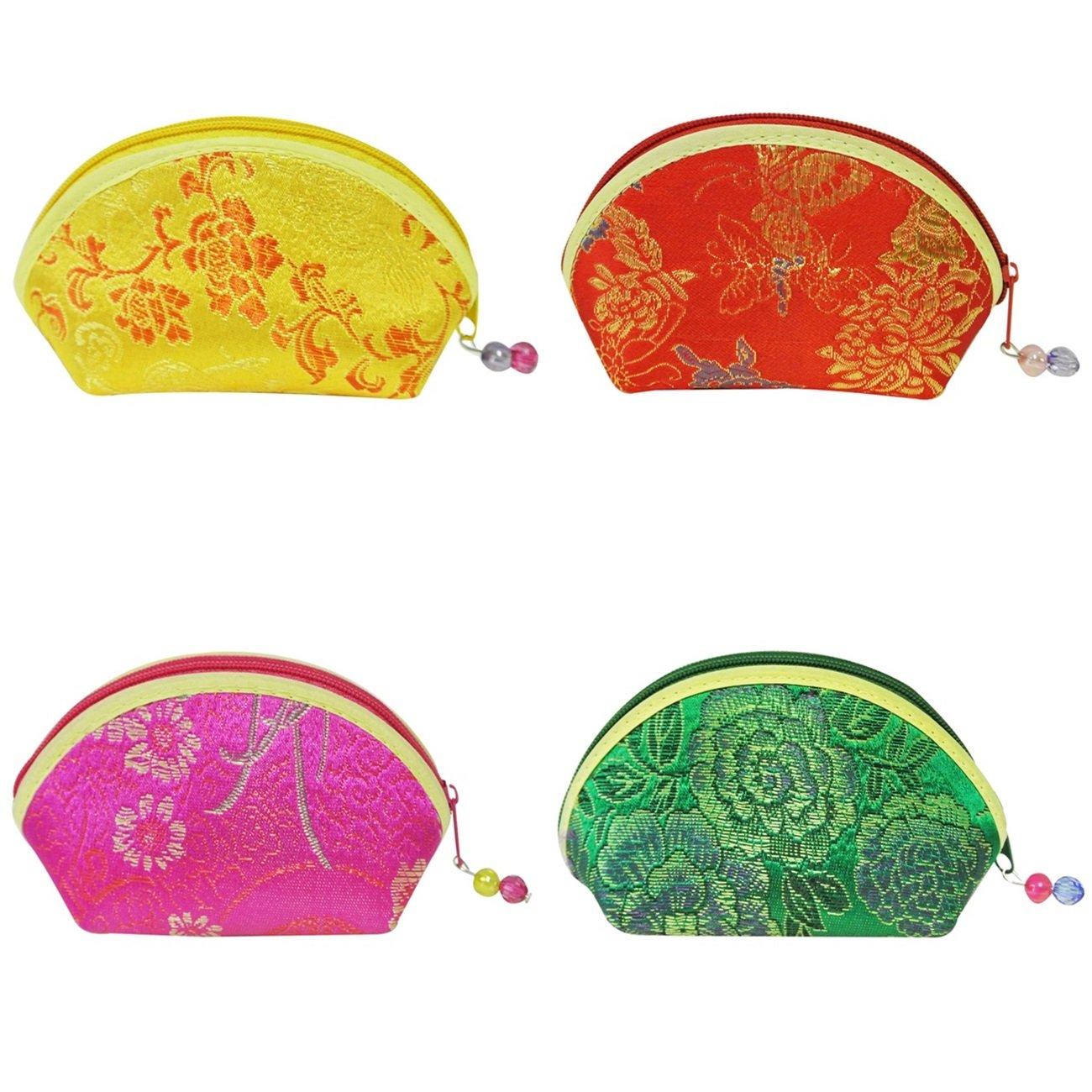 Wrapablesシルク刺繍Brocadeギフトジュエリーコインポーチ財布、イエロー/レッド/ブルー/グリーン、4のセット   B00GBKXXJ8
