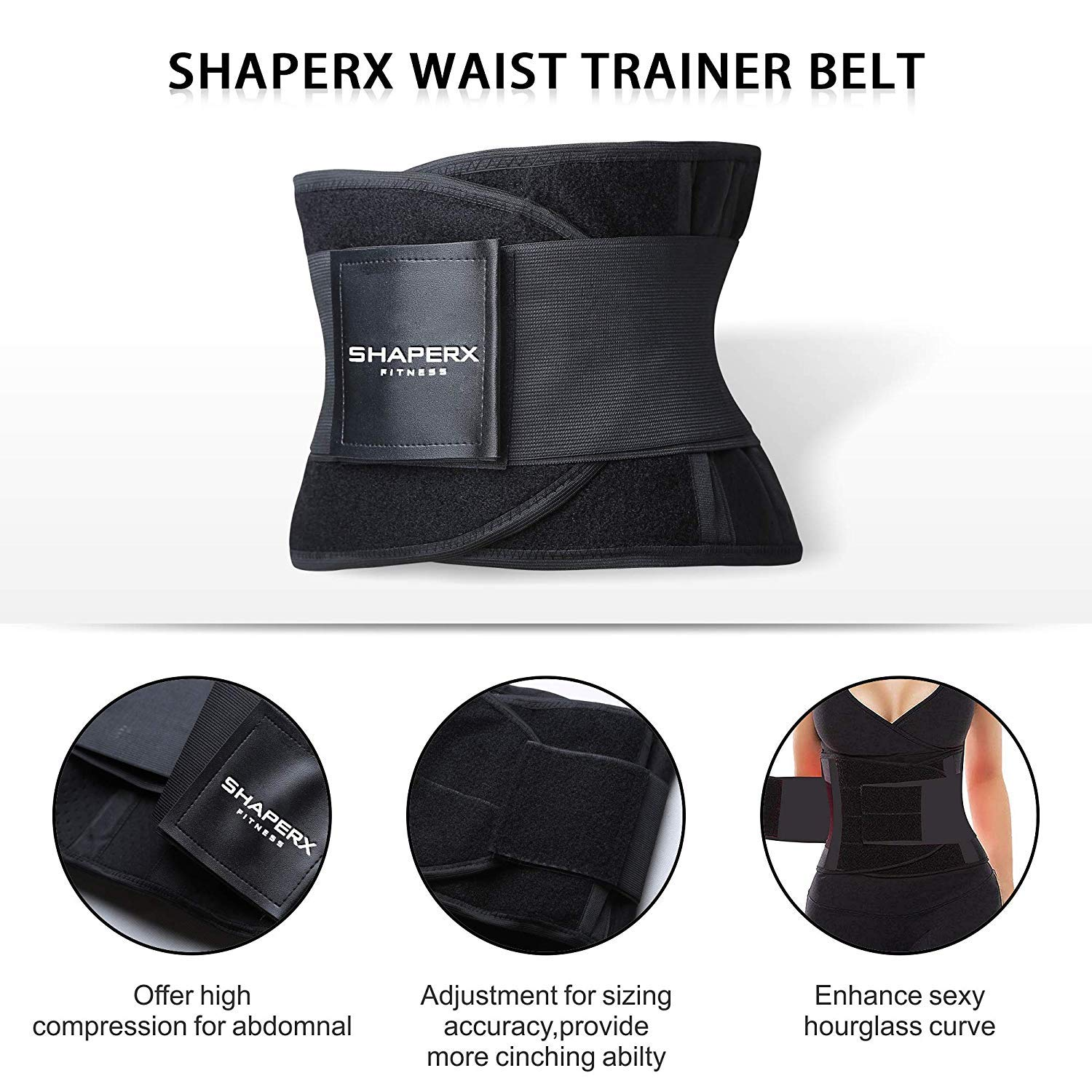 SHAPERX Womens Waist Trainer Belt Body Shaper Belly Wrap SZ8002-New-Black-M Trimmer Slimmer Compression Band for Weight Loss Workout Fitness