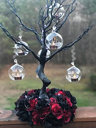 EssenceLiving 80MM Glass Orbs Hanging Candles Tea Light Holder