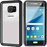 Lanwow S7 Edge Waterproof Case Support Wireless Charging Built in Curved Screen Protector Rugged Shockproof Transparent Cover Waterproof Case for Samsung Galaxy S7 Edge (5.5inch)—Classic Black