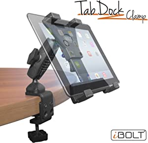 """iBOLT TabDock Bizmount Clamp- Heavy Duty Dual-Ball C-Clamp Mount for All 7"""" - 10"""" Tablets (iPad, Samsung Galaxy Tab, etc.) Great for Desks, Tables, Wheelchairs, Homes, Schools, Offices, Hospitals"""