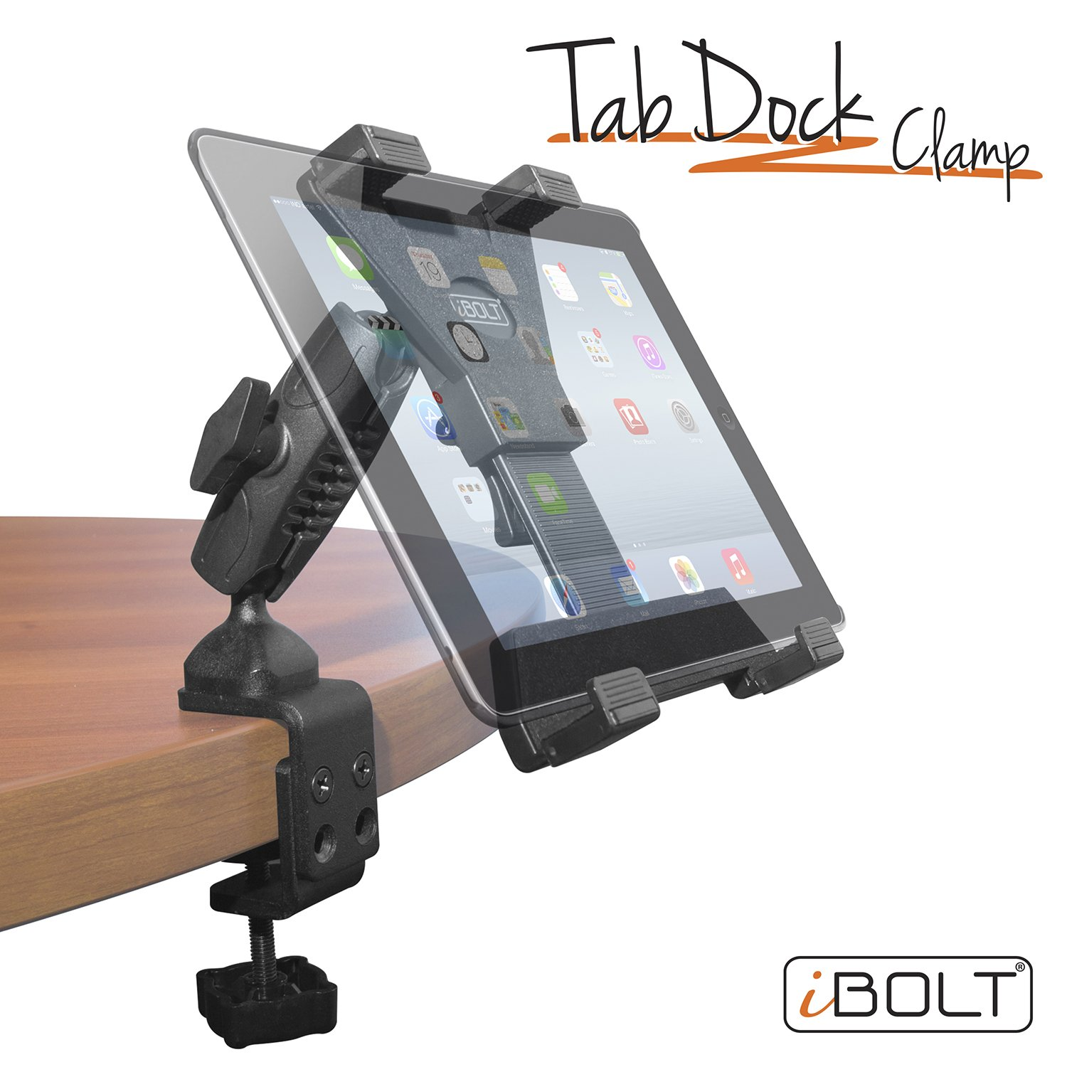 iBOLT TabDock Bizmount Clamp- Heavy Duty Dual-Ball C-Clamp Mount for All 7'' - 10'' Tablets (iPad, Samsung Galaxy Tab, etc.) for Desks, Tables, Wheelchairs, Carts: Great for Homes, Schools, Offices
