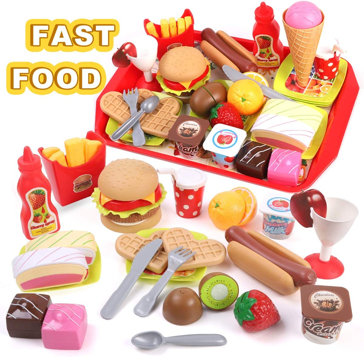 GILOBABY Kids Play Food Toys, Cutting Fast Food Set Kitchen Toys for Toddler Girls Boys, Pretend Role Play Toys for Educational Preschool Learning