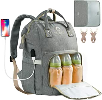 ORANIFUL Skötväska för mamma stor kapacitet baby blöjväska multifunktionell blöjväska vattentät resa ryggsäck med USB-port isolerade fickor för babyvård