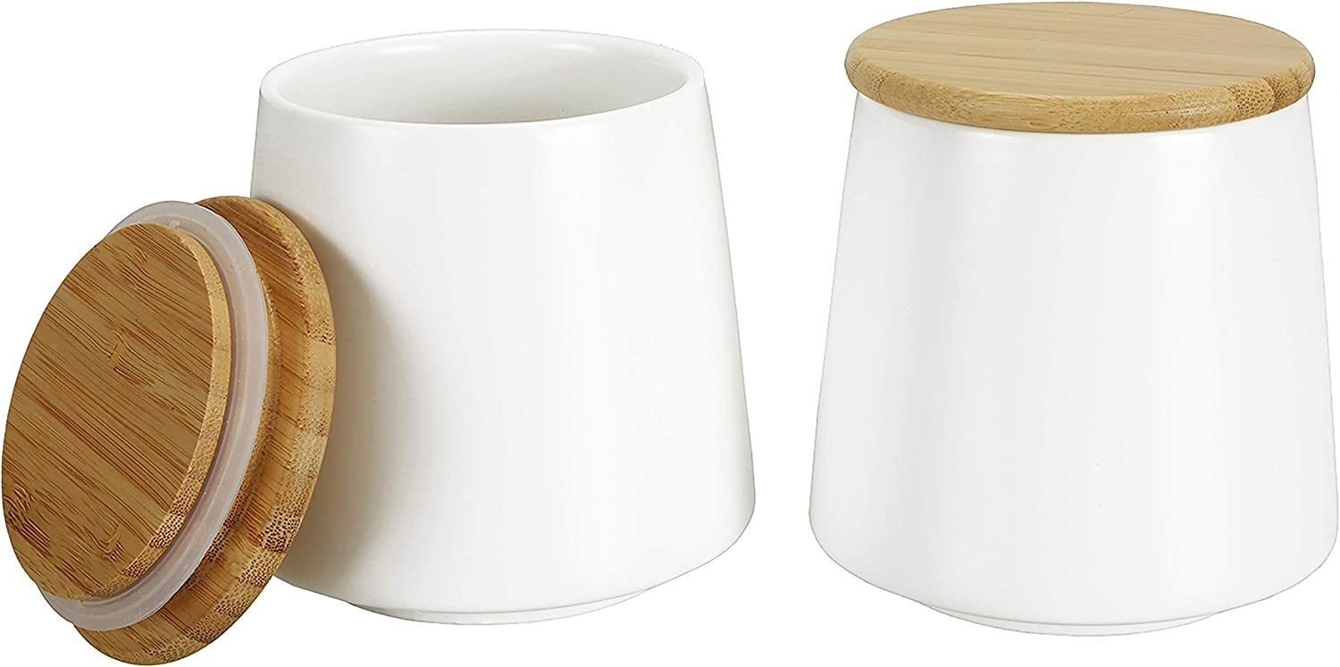 Cedilis 2 Pack Ceramic Kitchen Food Storage Jar with Airtight Bamboo Lid, 17 Oz White Storage Canister for Tea, Coffee, Sugar, Spices, Flour and More