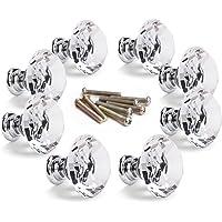 8pcs Pomo de Cristal Vidrio Transparente Tiradores