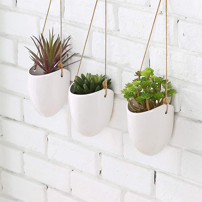 Wall Decor KAZAI Set of 3 Ceramic Hanging Planter Vase