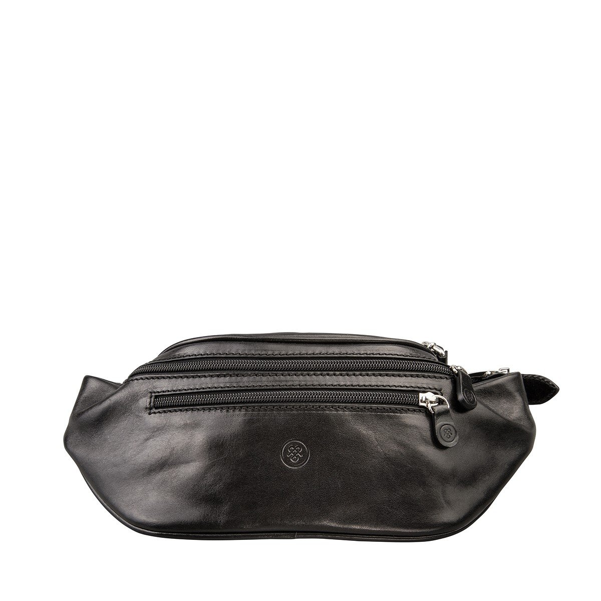 Maxwell Scott Quality Leather Black Fanny Pack (Centolla)
