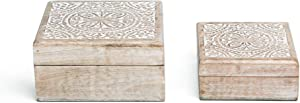 NIKKY HOME Mango Wood Boho Style Storage Boxes Hand Carved Decorative Jewelry Trinket Keepsake Boxes 6.7