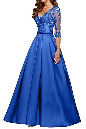 Baijinbai Formal Long V neck Appliques Ball Gown Party Prom Dresses Bridesmaid Dress Evening Royal Blue
