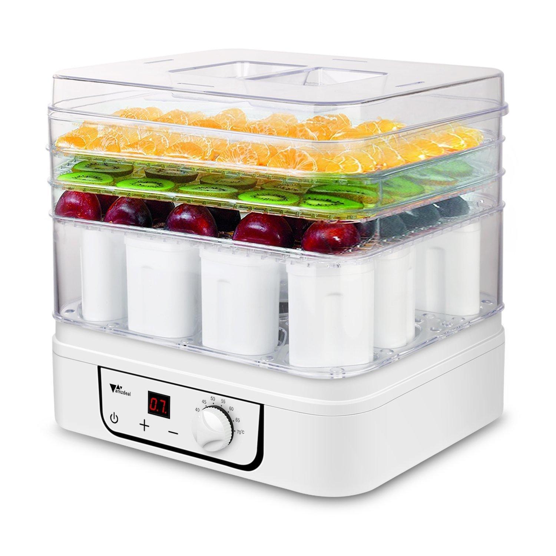 Amzdeal Deshidratador y yogurtera 3 pisos de alimentos 2 en...